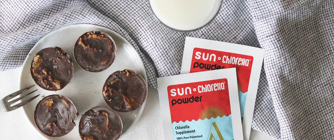 Chlorella cocoa almond butter cups use Sun Chlorella Pure Powder for extra superfood power.