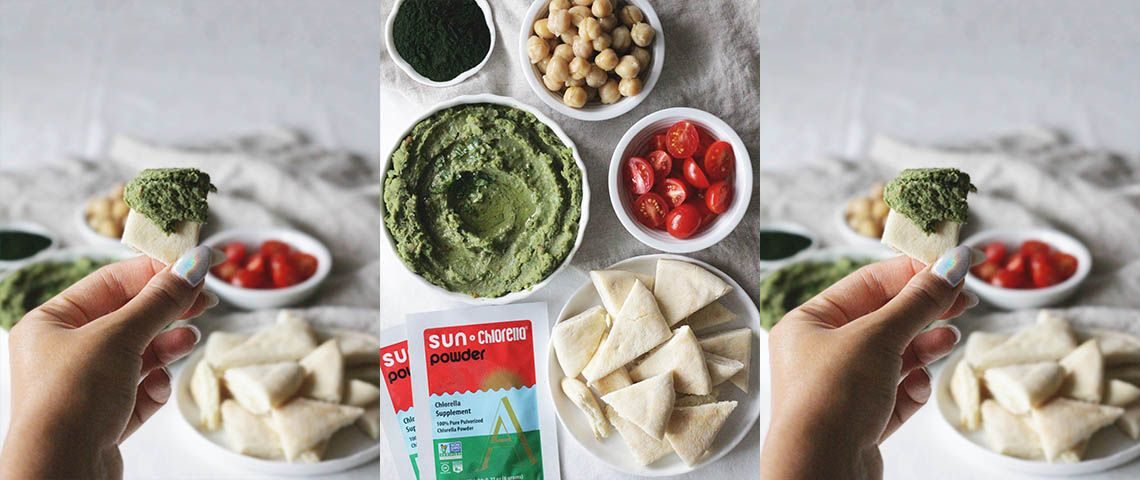 Get the benefits of Vitamin B12 and all nine amino acids by adding Sun Chlorella® Powder to homemade hummus.